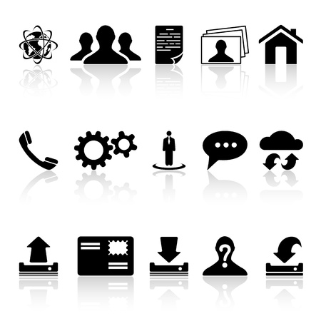 Collection of black web icons isolated on white background, illustration  Stock Vector - 21015686