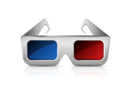 3 d illustrations: 3D glasses isolated on white background, illustration