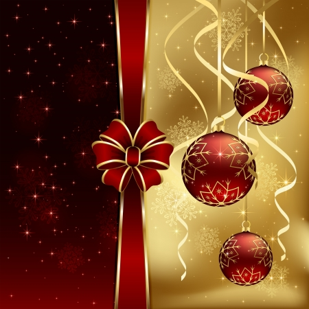 gold christmas: Christmas background with three baubles and red bow, illustration  Illustration