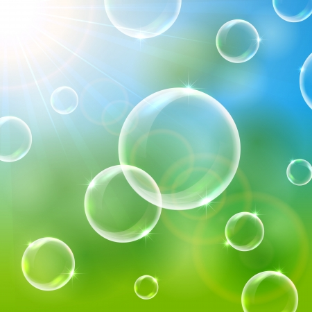 Shiny soap bubbles in the sun background, illustration Vector