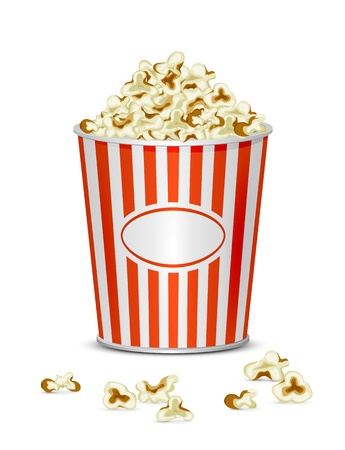 Tasty popcorn isolated on a white background, illustration  Vector