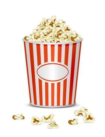 Popcorn savoureux isolé sur un fond blanc, illustration