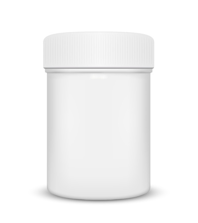 vitamins pills: Plastic medicine bottle isolated on a white background, illustration