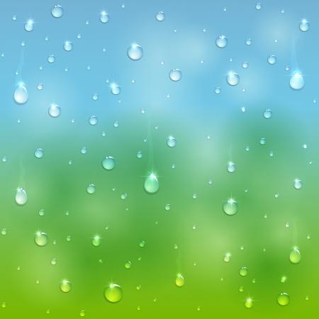 Water drops on window after rain, illustration