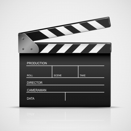 clapper board: Black cinema clapper isolated on a gray background, illustration  Illustration