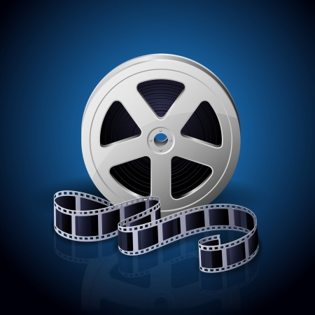 Film reel and twisted cinema tape on blue background, illustration  Stock Vector - 21724479
