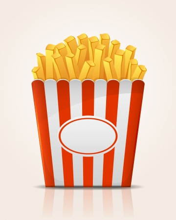 French fries potato in paper bucket, illustration  Vector
