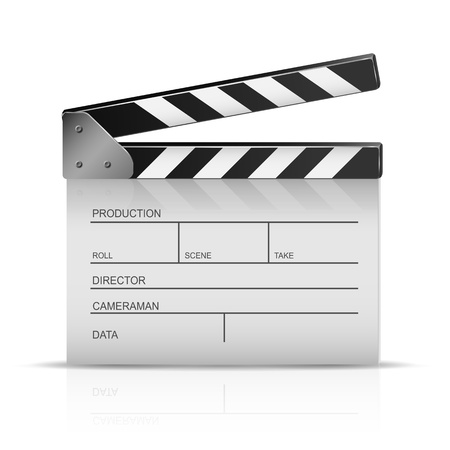 Cinema clapper isolated on a white background, illustration  Stock Vector - 21724604