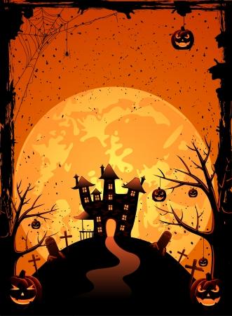 boom halloween: Halloween nacht achtergrond met griezelige kasteel en pompoenen, illustratie Stock Illustratie
