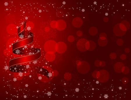 Fond rouge de Noël avec des rubans, flocons et les étoiles, illustration Banque d'images - 21724596
