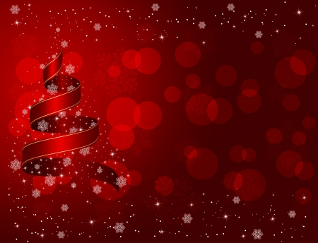 Red Christmas background with ribbon, snowflakes and stars, illustration