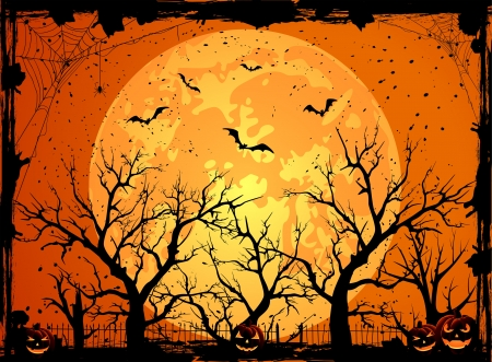 full day: Halloween night background with full Moon and pumpkins, illustration