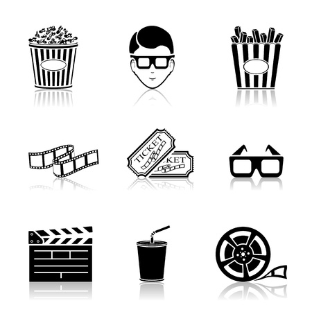 film reel: Collection of black cinema icons isolated on white background, illustration