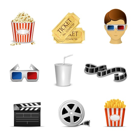 Collection of nine cinema icons isolated on white background, illustration Stock Vector - 21824713