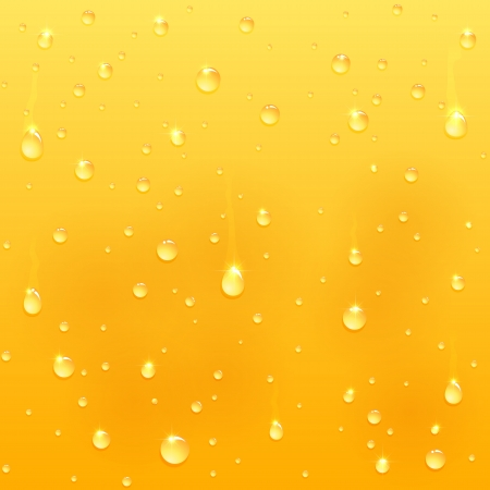 Drops on glass, yellow drink background, illustration   Vector