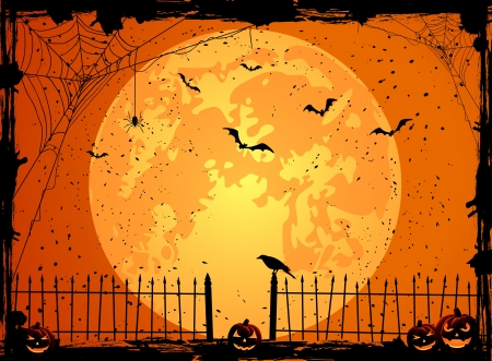 horror background: Halloween night background with full Moon, pumpkins and crow, illustration