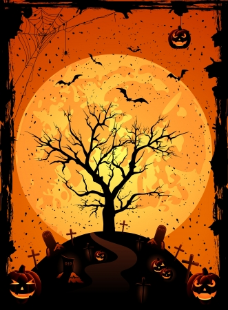 Halloween night background with full Moon, pumpkins and tree, illustration Vector