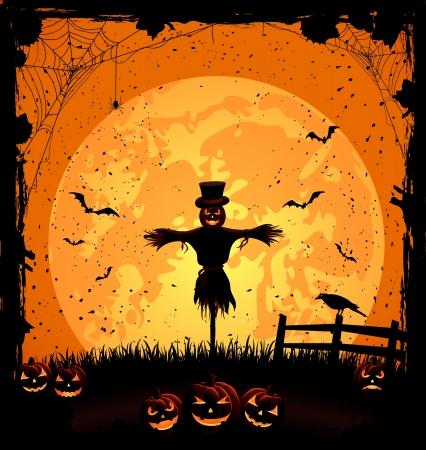 volle maan: Halloween nacht achtergrond met volle maan, pompoenen en scarecrow, illustratie