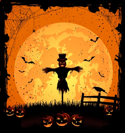 Halloween night background with full Moon, pumpkins and scarecrow, illustration Vector