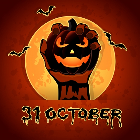 Halloween background with Jack O  Lantern in the hand, illustration  Vector