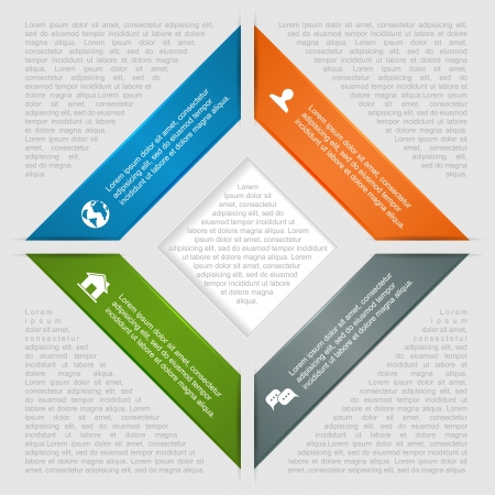 Square infographic, lines in the shape of rhombus and icons, can be used for diagram, design of website, step up options, web template, illustration  Vector