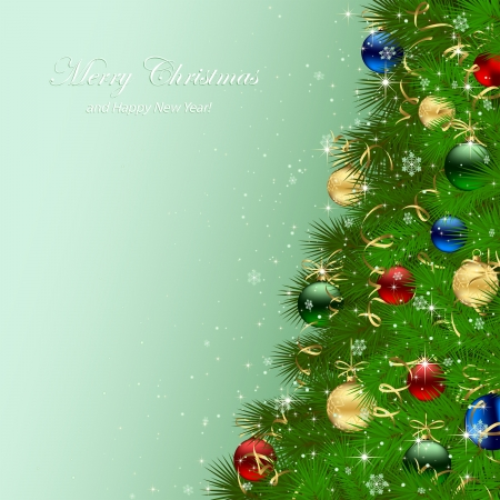 Green background with Christmas tree and baubles, illustration