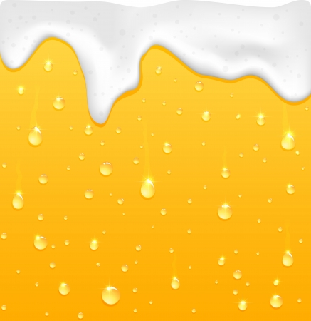 Drops with foam on glass, yellow drink background, illustration