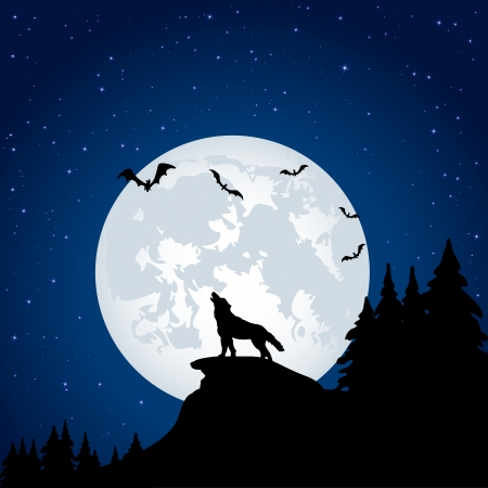 black and white wolf: Silhouette of a wolf on Moon background, illustration