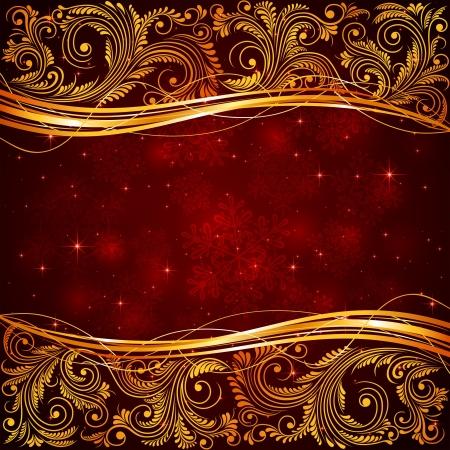 feliz: Sfondo Natale rosso con elementi floreali illustrazione