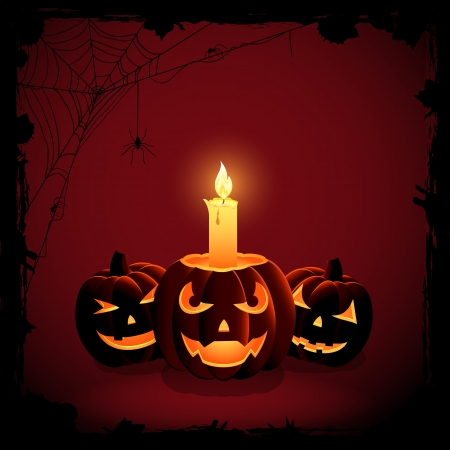31: Halloween background, Jack O  Lantern with candle, illustration