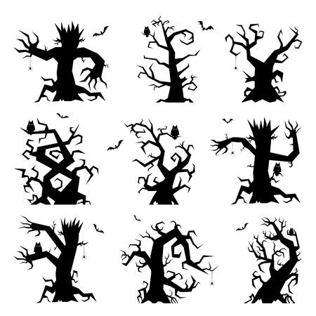 Set of halloween trees with bats, spiders and owl, illustration  Vector