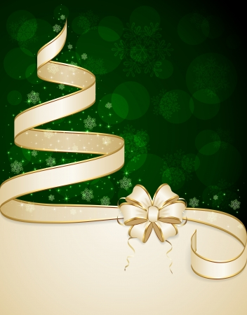 Beige ribbon in the form of Christmas tree with stars and snowflakes on green background, illustration  일러스트