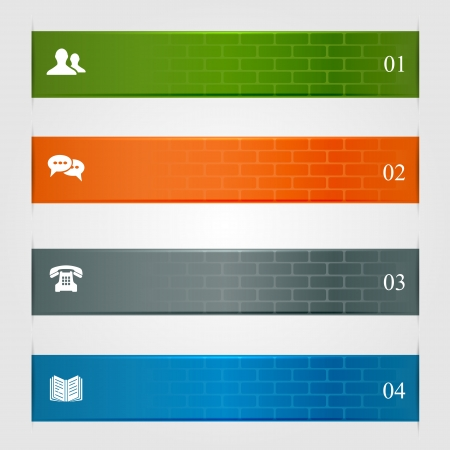 Infographic banners, horizontal lines with brick texture, can be used for number options, web template, illustration  Stock Vector - 22002559