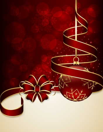 Red Christmas background with ribbon and bauble, illustration