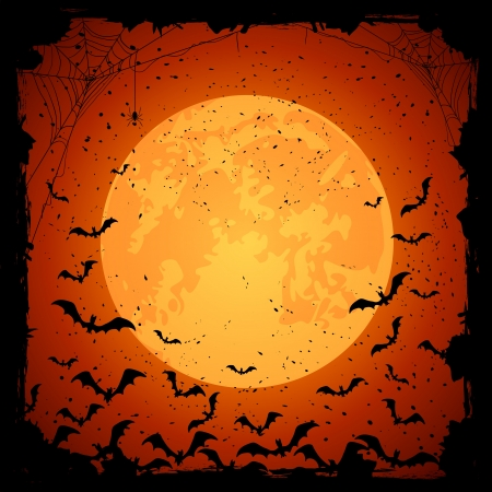 Halloween night, grunge background with Moon and bats, illustration Vector