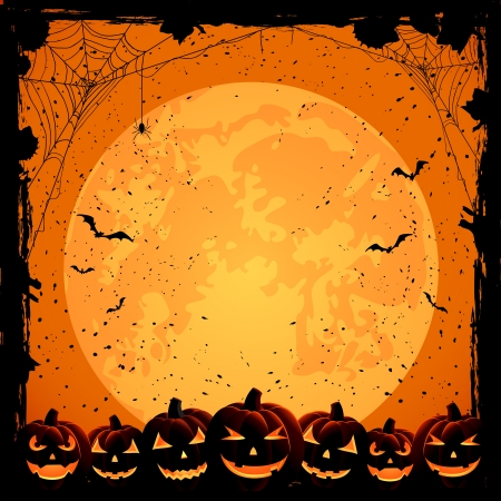 Halloween night background with full Moon, pumpkins and spiders, illustration Vector