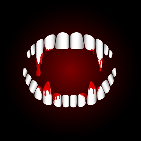 fangs: Vampire teeth with blood on dark background, illustration