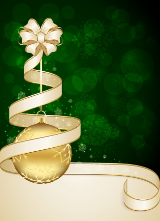 Green Christmas background with ribbon and bauble, illustration  일러스트