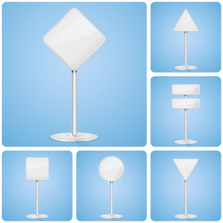 Set of road signs on a stand, illustration  Vector