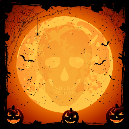 Scary Halloween night background with pumpkins and skull, illustration  Vector