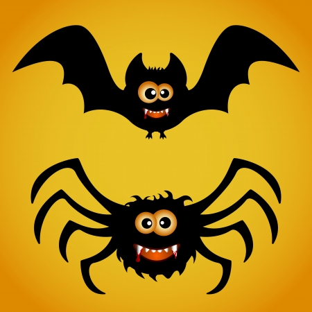 Cartoon bat and spider on orange background, illustration Illustration