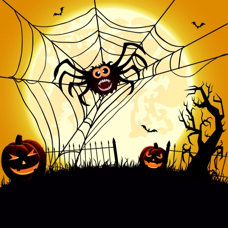 all smiles: Halloween night background with spider and pumpkins, illustration