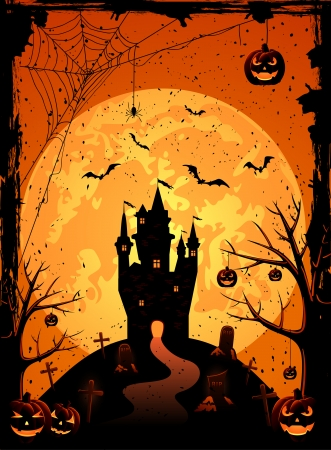 Black castle on the moon background, illustration