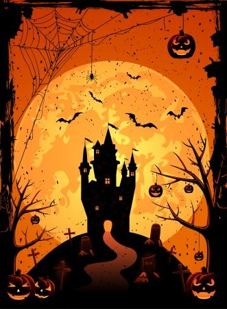 cobweb: Black castle on the moon background, illustration