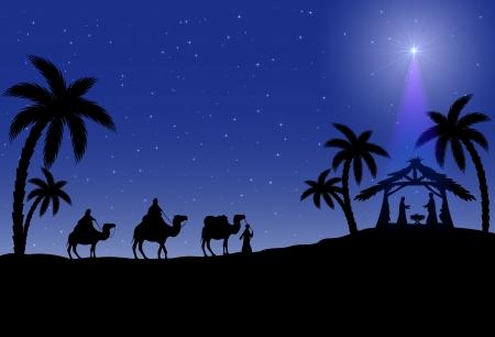 reyes magos: Escena cristiana de Navidad con los tres sabios y estrellas, ilustración Vectores