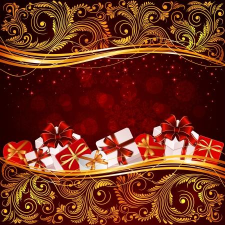 花の要素とプレゼント、イラストと赤のクリスマス背景