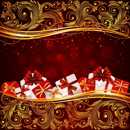 Red Christmas background with floral elements and presents, illustration