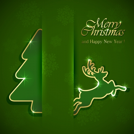 Christmas tree and deer on green background, illustration  Vector