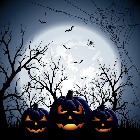 scary forest: Three Halloween pumpkins on Moon background, illustration