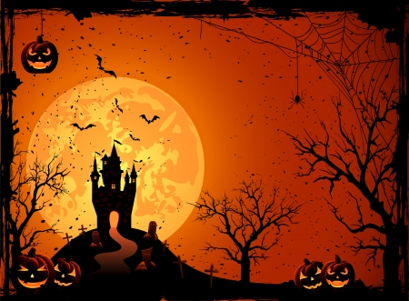 spider web: Halloween night, black castle on the moon background, illustration